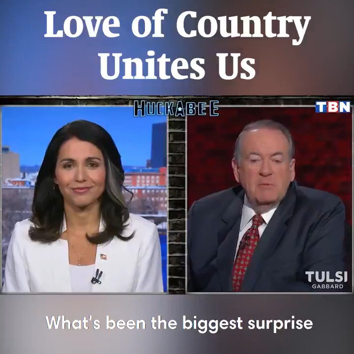 You and I may disagree on various issues, but at our core, we love our country and we appreciate the values, principles, and freedoms enshrined in our constitution. This common ground is the path forward to bridge the divides between us. #TULSI2020 @GovMikeHuckabee