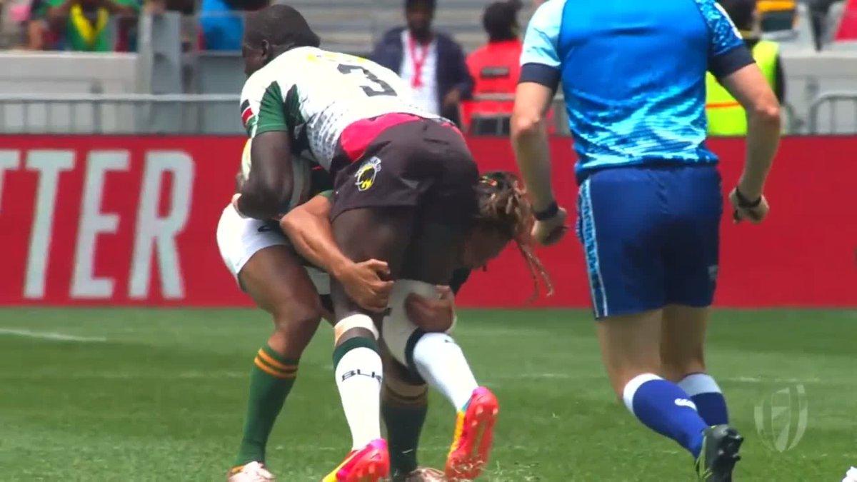 Monstrous defence from @Blitzboks playmaker @JustinGeduld against @KenyaSevens.