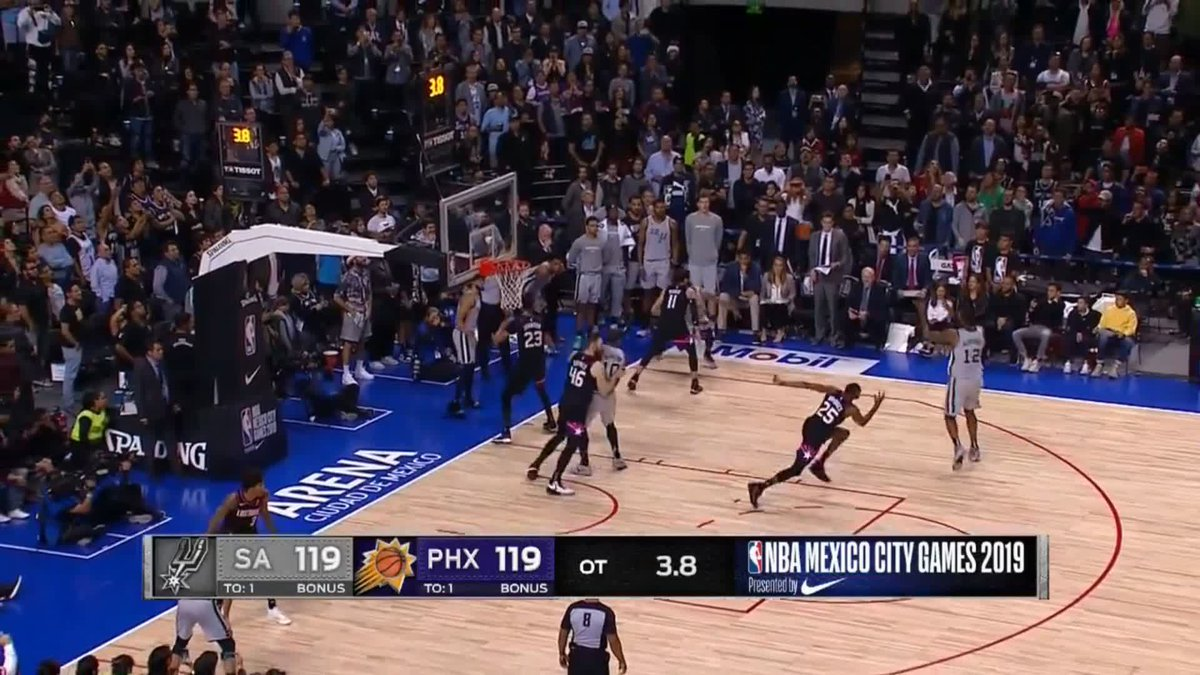 ⏲️⭐️ Patty Mills hit the game-winner with 0.3 seconds left in OT as the Spurs edged the Suns in 121-119 in Mexico City  #NBA | #GoSpursGo | #RisePHX   📱 GAME STORIES & HIGHLIGHTS - http://skysports.tv/FcfokR