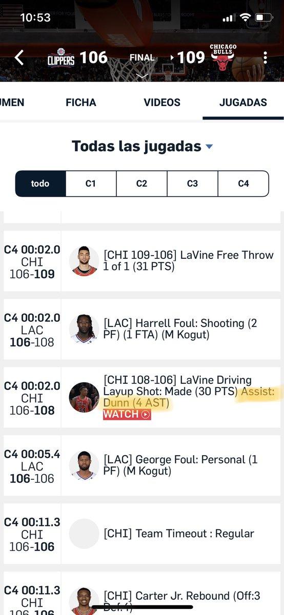 I això, amics i amigues, ho han comptabilitzat com assistència! Una passada de servei de banda en la que LaVine rep a 9 metres i ha fe fer dos bots per encistellar sota l'aro🤔 #BullsNation https://twitter.com/chicagobulls/status/1206054981561962498…