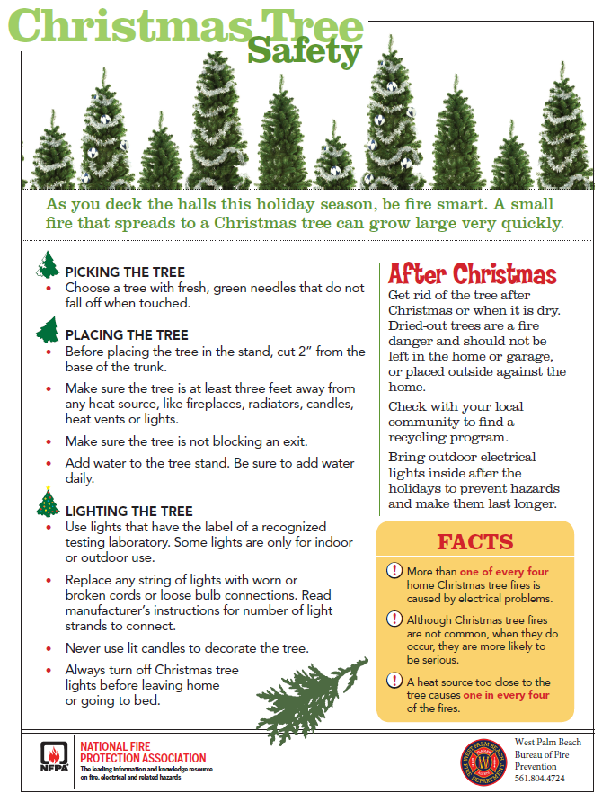 """City of West Palm Beach a Twitter: """"As you deck the halls this holiday  season, be fire smart. A small fire that spreads to a Christmas tree can  grow large very quickly."""