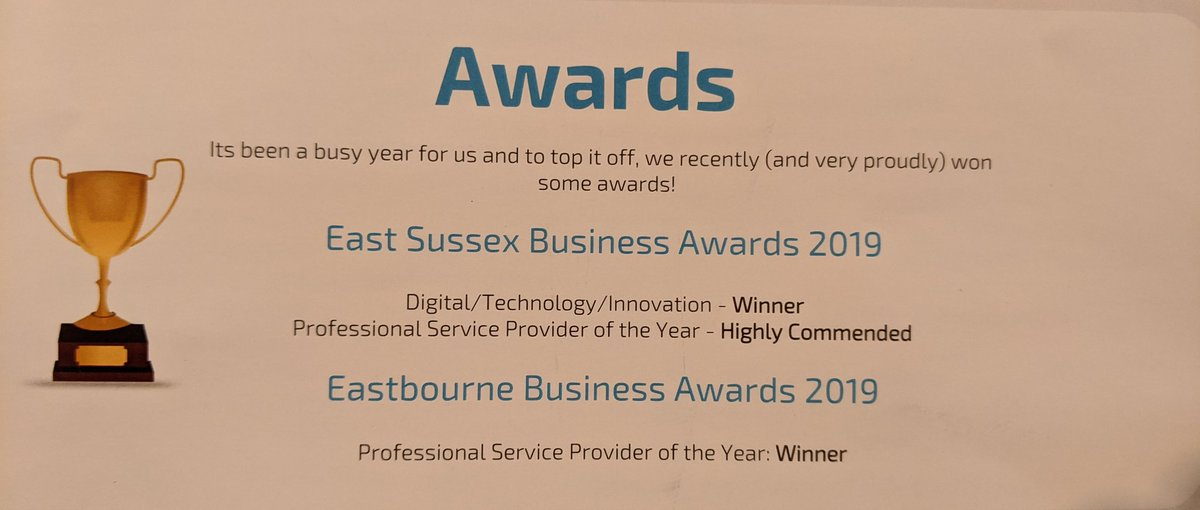 Congratulations to the team @SouthernIT who provide IT support to so many businesses in #EastSussex. It's been quite a year for them, winning two local awards! Kudos @_MJFreeman, @IJWaters and the team. Great work!