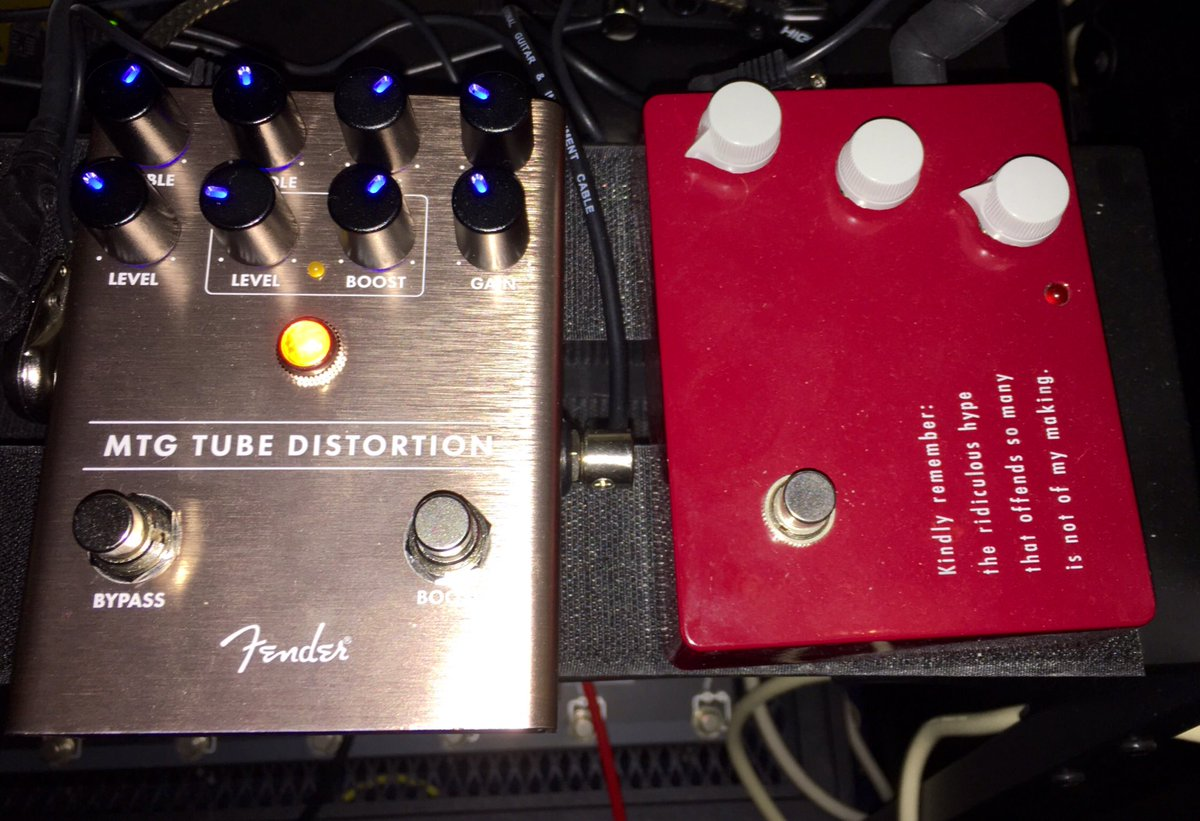 This photo shows a Klon KTR pedal into a Fender MTG Tube Distortion pedal. The KTR is off, and the MTG is on.