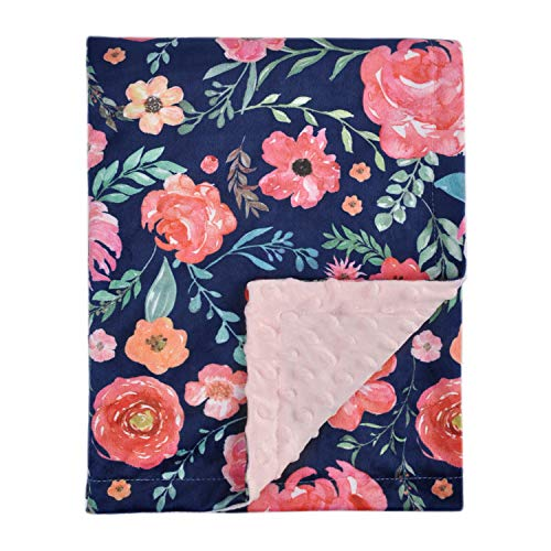 #HOMRITAR #Baby #Blanket for #Girls #Super #Soft #Double #Layer #Minky with #Dotted #Backing, #Elegant #Receiving #Blanket with #Pink #Floral #Multicolor #Printed #Blanket 30 x 40 Inch(75x100cm), #Navy #Blue - .  #Inch75x100cm