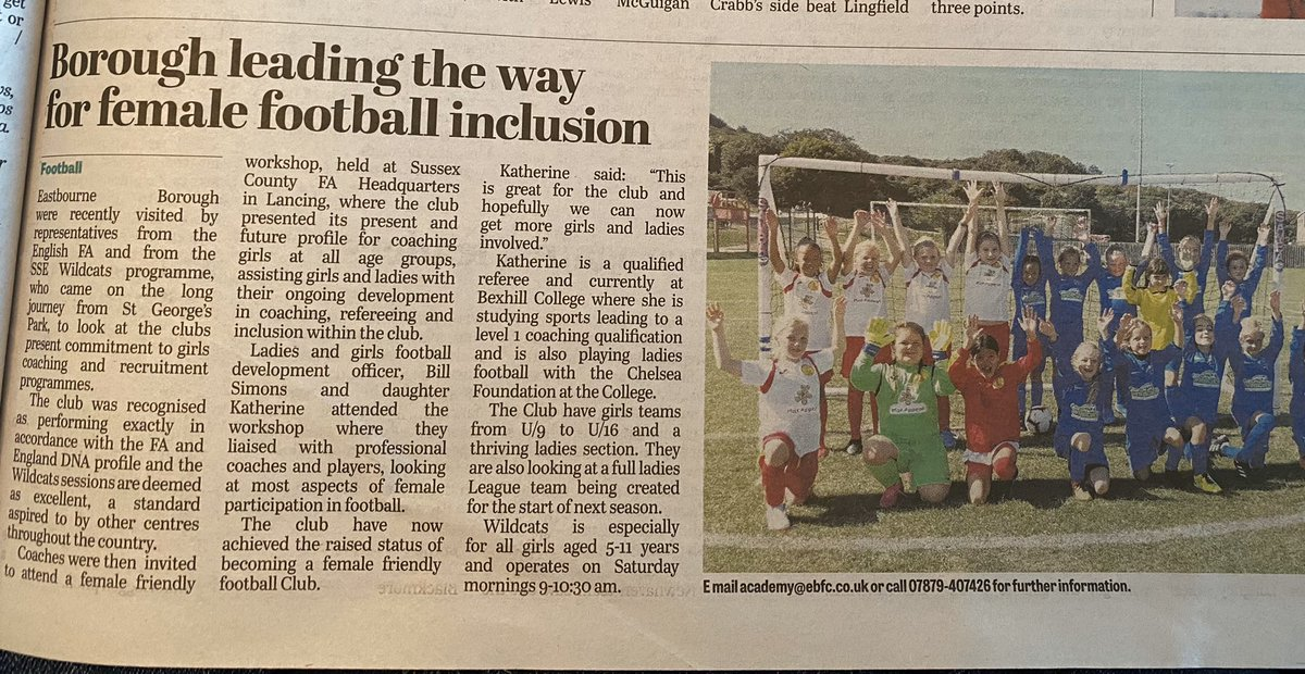 Check us out in this week's Eastbourne Herald - we're leading the way! We have a great pathway for female players of all ages - contact us for more information ⚽️#girlsfootball #womeninfootball #eastbourne #eastsussex