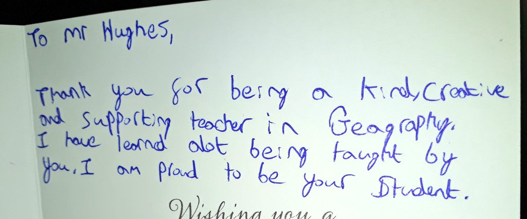 It was lovely to receieve this card from one of my new students. Having only been in the school a short time you don't expect a message like this...quite emotional if l'm honest! #makeadifference #proudteacher #geographyteacherpic.twitter.com/AyOCudHnLY