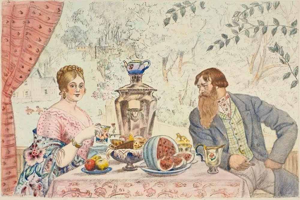 открытка ссср молодожены пьют чай белый гриб предпочитает