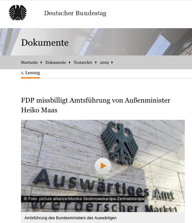 FDP missbilligt Amtsführung von Außenminister Heiko Maas - Bundestag am 7.11.2019 - Gegenstand einer 45-minütigen Aussprache - Opposition wollte direkt abstimmen - Koalitionsmehrheit sprach sich jedoch für Überweisung an den Auswärtigen Ausschuss aus https://www.bundestag.de/dokumente/textarchiv/2019/kw45-de-missbilligung-minister-des-auswaertigen-666570…pic.twitter.com/JE24QlQUzk