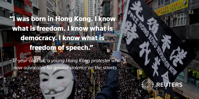 17-year-old Pak couldn't count how many bottles he'd filled with lighter fluid in the two days he'd been at Hong Kong's Polytechnic University. Now, he talks about looking for guns. Read the full story: https://reut.rs/2LTS2qX by @TomLasseter