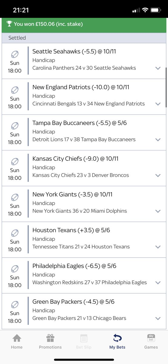 Lovely acca coming in! Down to the last seconds of #GBvsCHI #NFL #skybet 🏈🏈🏈