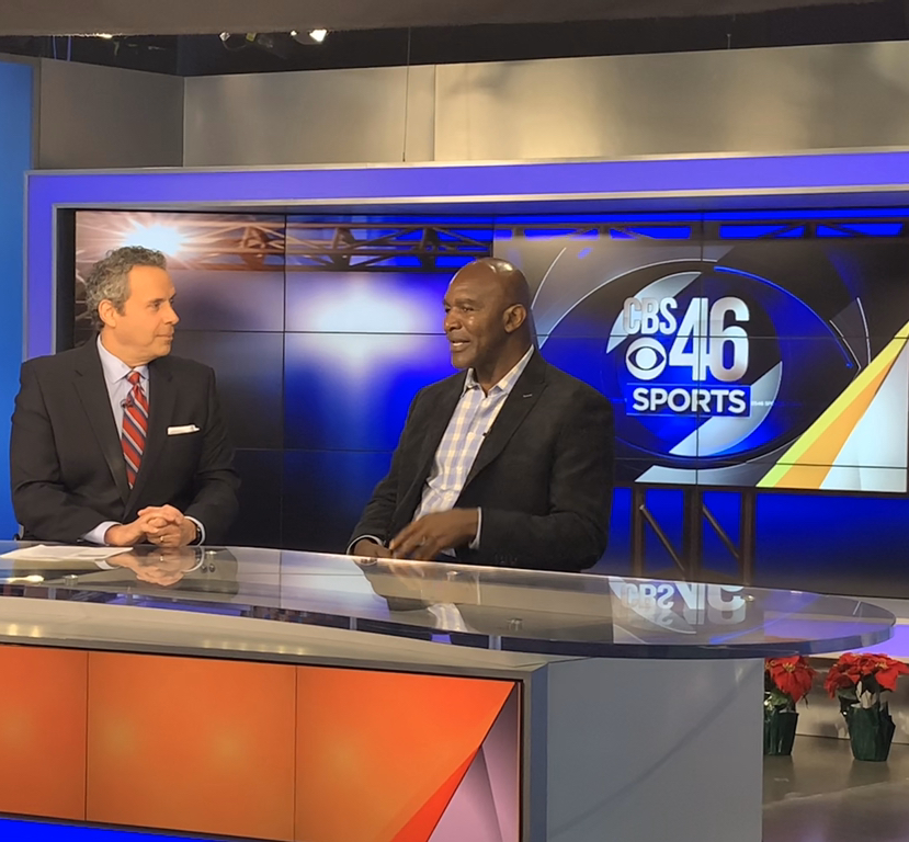 Four-time heavyweight champ Evander Holyfield stopped by the studio today to talk with Fred Khalil about the upcoming title fight between Gervonta Davis and Yuriorkis Gamboa on Dec. 28 at State Farm Arena. TUNE IN for the full interview tonight at 11:30 on CBS46. pic.twitter.com/nLNBnirag4