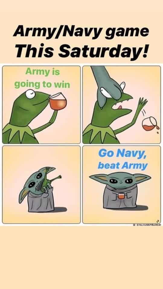 ❤🤣💙 Even #BabyYoda is a #Navy fan! #iamaveteran #navyvet #GONAVY #sorrykermit #GoNavyBeatArmy