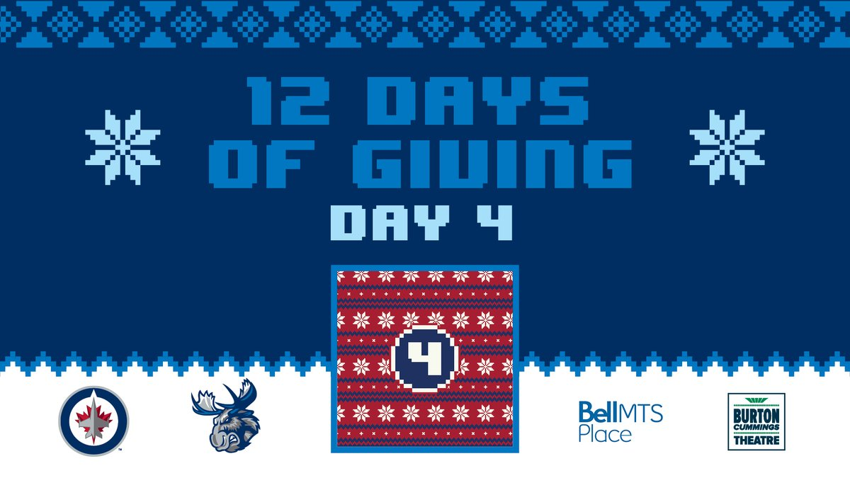 🎶 On the fourth day of Giving, True North gave to me... 🎶 True Norths 12 Days of Giving continues with todays chance to win two tickets to TUESDAY nights game against the Hurricanes and more! 🎁 Enter for a chance to win ➡ wpgjets.co/12DaysOfGiving