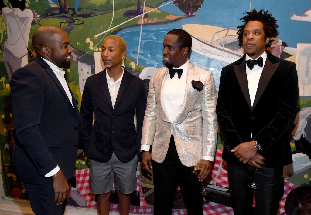 Diddy: WOW when they let you out?  Kanye: Shit I just got home today, my cousin let me hold this suit. You know this ain't my usual fit.   Pharrell:(nods head) Right right    Jay-Z: (Internally) hmmmmm I know he fina ask to borrow some money let me not even look at him  #Diddy50 <br>http://pic.twitter.com/5ZfH9JyLa1