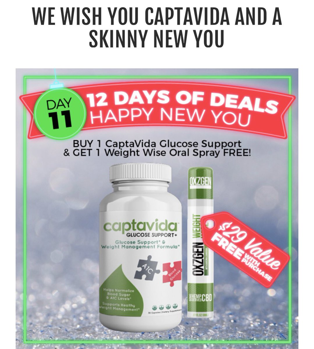 Day 11 When you get Captavida for #diabetes you get our new and improved weight loss spray for free!!!! http://Oxzgen.com/L664894 or call 18007999019 & use the code L664894  #cbd #hemp  #cannabisculture #cbdhealth #cbdcures #diabetes #weightloss #slim #skinny  #weightlossjourneypic.twitter.com/g42sNAdvJJ