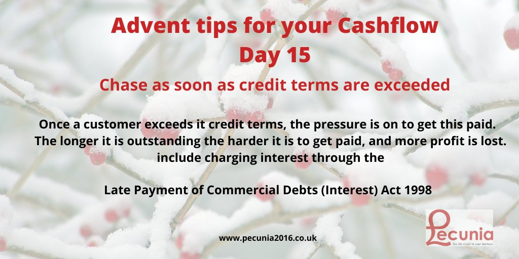 The longer the debt is outstanding the chances of getting paid is reduced, and you will start to lose the profit.  Use the Late Payment of Commercial Debts (Interest) Act 1998 #cashflow #cashisking #Creditmanagement #creditcontrol #payments #latepaymentinterestpic.twitter.com/VVG76ikwXU