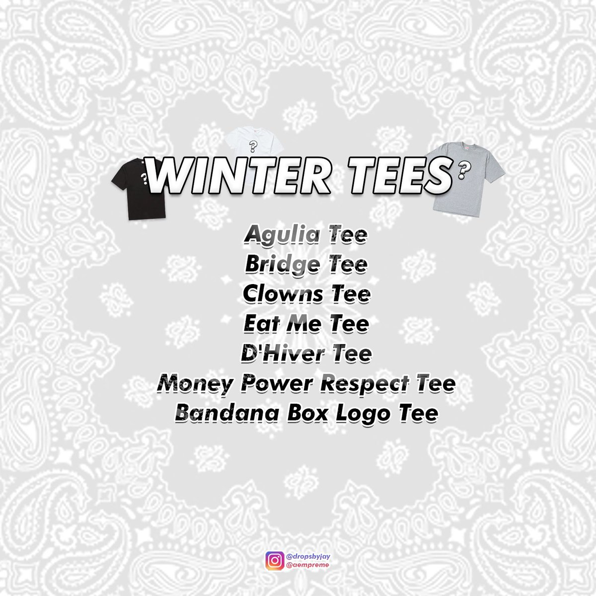 Supreme Winter Tees Are Set To Drop