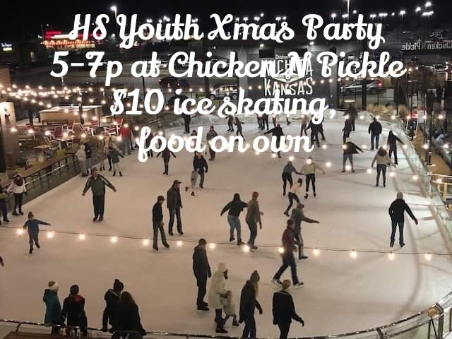 HS Youth Xmas Party today, 5-7p @ Chicken N Pickle for outdoor ice skating! $10, meet directly at CnP; bring your own $ for food. Subject to weather: any changes, we will inform you immediately! pic.twitter.com/AtV1PP9HKF