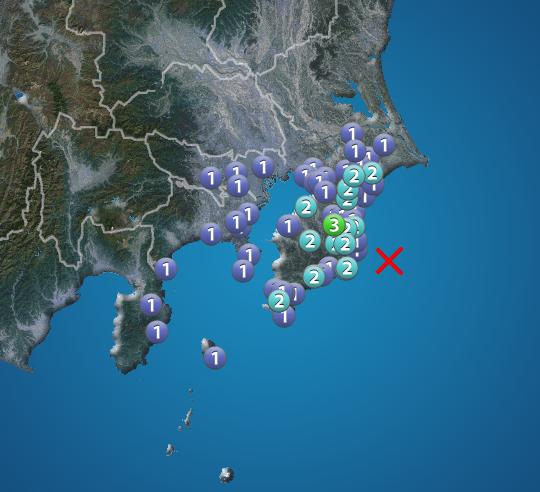 12月16日 4:14 震度3 震源:千葉県東方沖 M4.3 深さ約60km この地震による津波の心配はありません。 https://t.co/nOzeB3I3q7 #地震 #防災 #減災 https://t.co/cz5a11jL1h