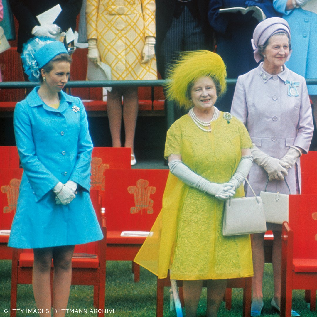 A family affair. Princess Anne and Queen Elizabeth The Queen Mother at the investiture of Charles, Prince of Wales at Caernarfon Castle in July 1969.