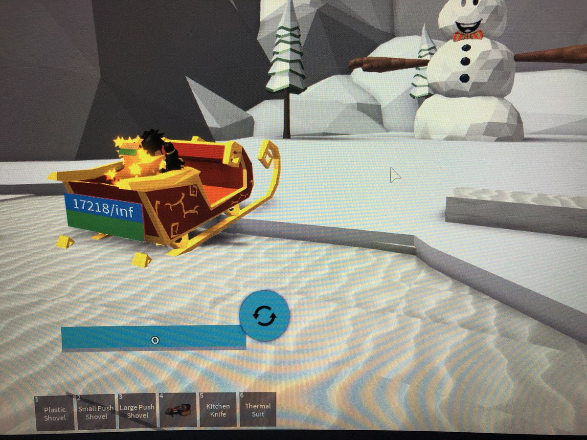 I Got Santas Sleigh In The New Snowman Simulator Update Roblox Spookman23 On Twitter The Sleigh And Santa S Backpack Are Now Back In Snow Shoveling Simulator Until January 15th