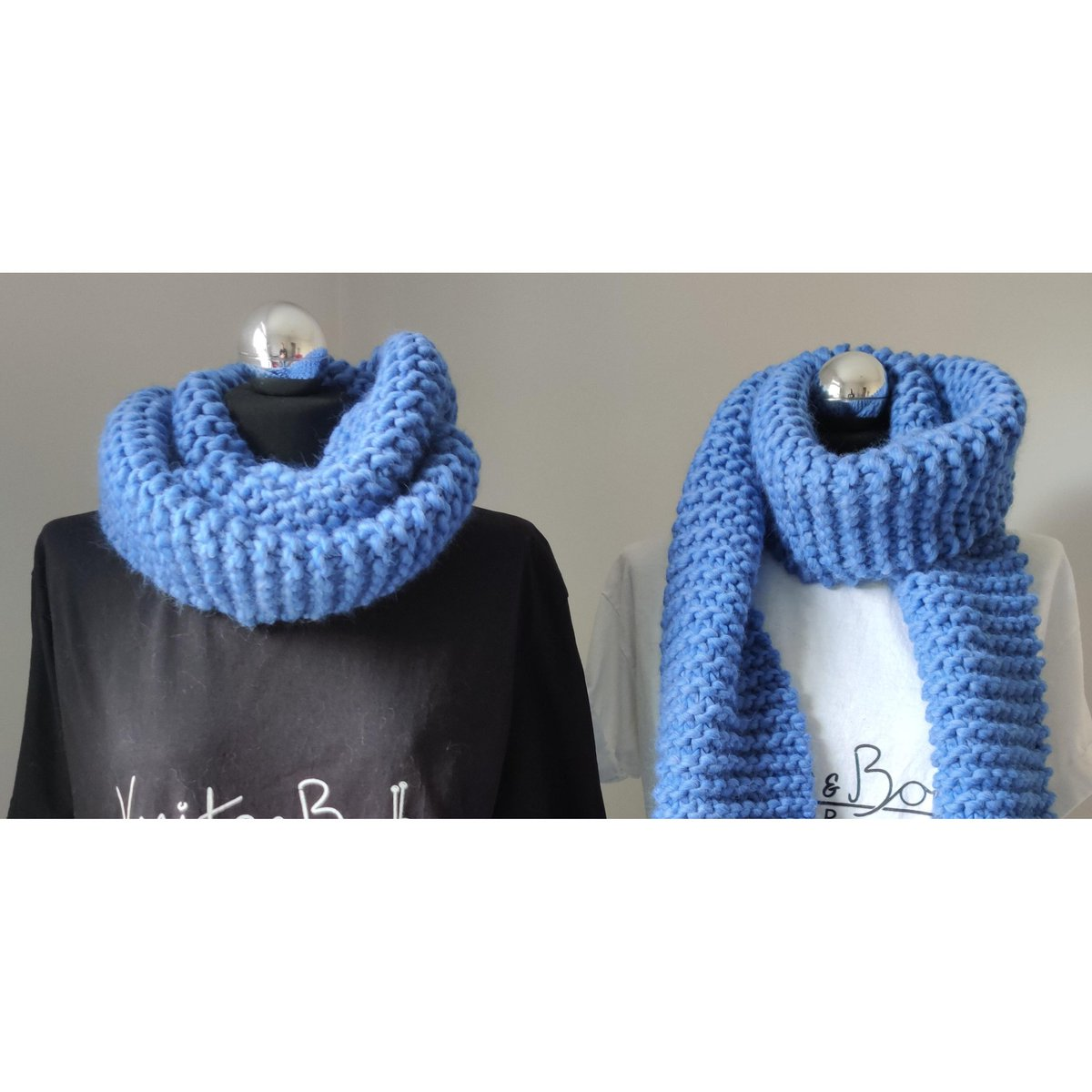 #handmadehour one colour, two scarfs, several options! Whether you're a scarf or snood person, you'll still be the most stylish in one of these chunky hand knitted wool accessories! http://www.etsy.com/uk/shop/knitsandbobsklr … #knititslow #slowfashion #sustainablefashionpic.twitter.com/ywzvM0ojhk