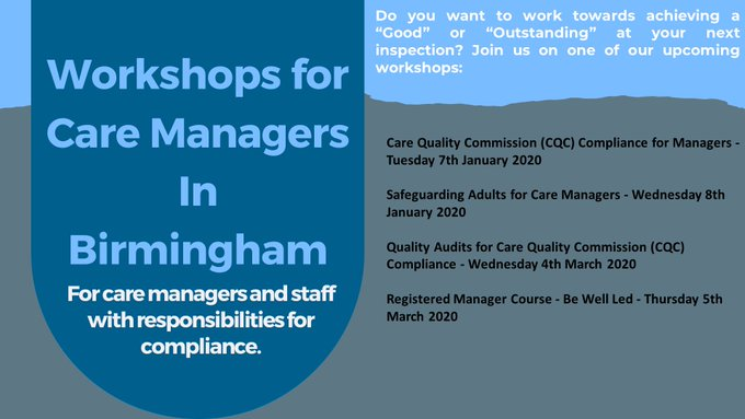 Hello #BrumHour   Are you a Care Manager wanting to ensure your knowledge and skills are up to date? Join us on one of our Care Manager Workshops in Birmingham in 2020.  Click the link or contact us for further details.  https://www.paisleytrainingandconsultancy.com/store/Birmingham-c41251586…  #care #workshoppic.twitter.com/RPB9194veY