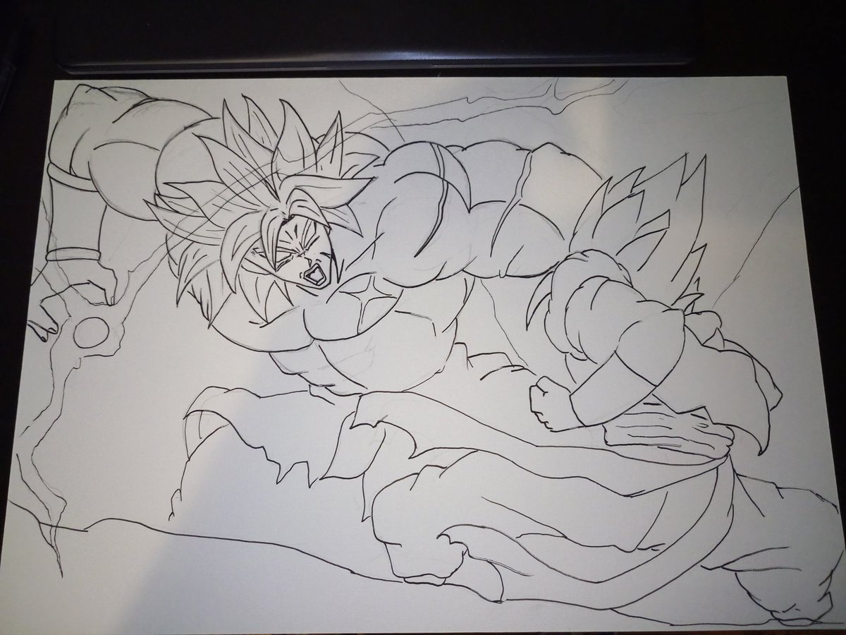 Dessin en cours de production Format A3 #broly #dbs #DragonBallSuper #gogeta #drawing #draw #movie #akiratoriyama #posca