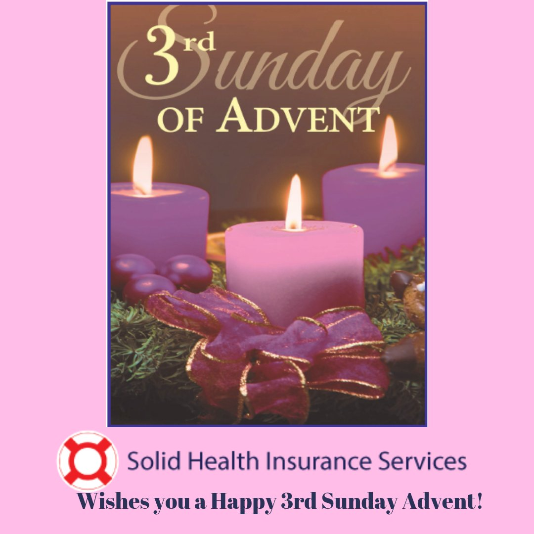 Happy #3rd Sunday of #Advent! Christmas is only a week and a half away! Get ready for #celebrating #Christmas and the #NewYear!  Contact #SolidHealthInsuranceAgency with any questions about your #2020 health plan. Check out our website for a #freequote! http://ow.ly/RwP050x7fKW pic.twitter.com/cyUrN4UOwN