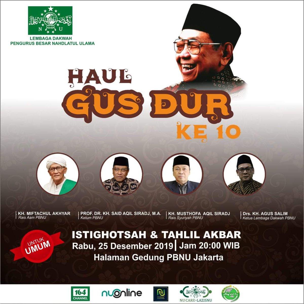 *Haul GusDur di Halaman Gedung PBNU, Malam Kamis Besok*pic.twitter.com/eh0UovH6u0