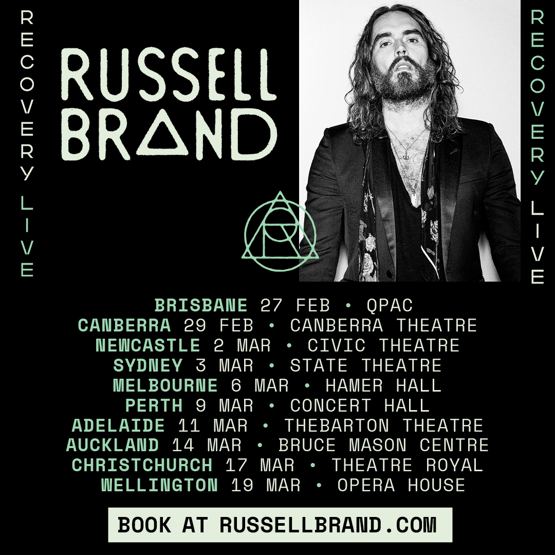 Onsale tickets to @RussellBrand's 'Recovery Live' tour are now available! Australia & New Zealand 2020. 🎟️ Tickets @ https://t.co/g4sf1lsJvT https://t.co/MiTPkg8Ytg