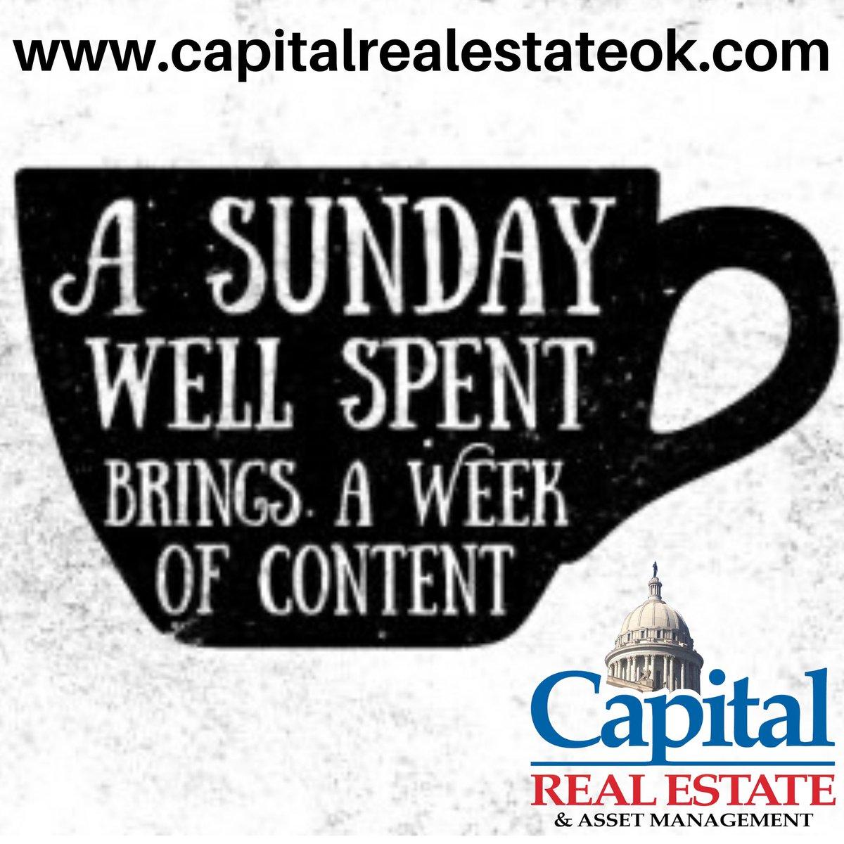 Enjoy your Sunday, even though it's wet and cold outside we hope everyone enjoys their day. #SundayFunday #sundayvibes #FamilyTime #HomeSweetHome #CapitalRealEstate #Oklahoma #Realtors #Sundays  http://buff.ly/2HBBJNjpic.twitter.com/Rq9jk1hP2r