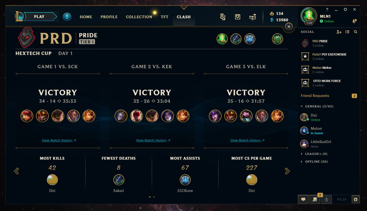 Together with @dizimix1 and guys we finished our second week of hextech clash attempt with a succes. We won Tier1 8-team Bracket. See you guys next time. pic.twitter.com/6v7HTuLTwo