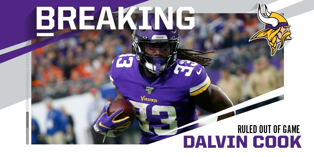 Vikings RB Dalvin Cook ruled out with shoulder injury. https://t.co/8wl4k46I7y