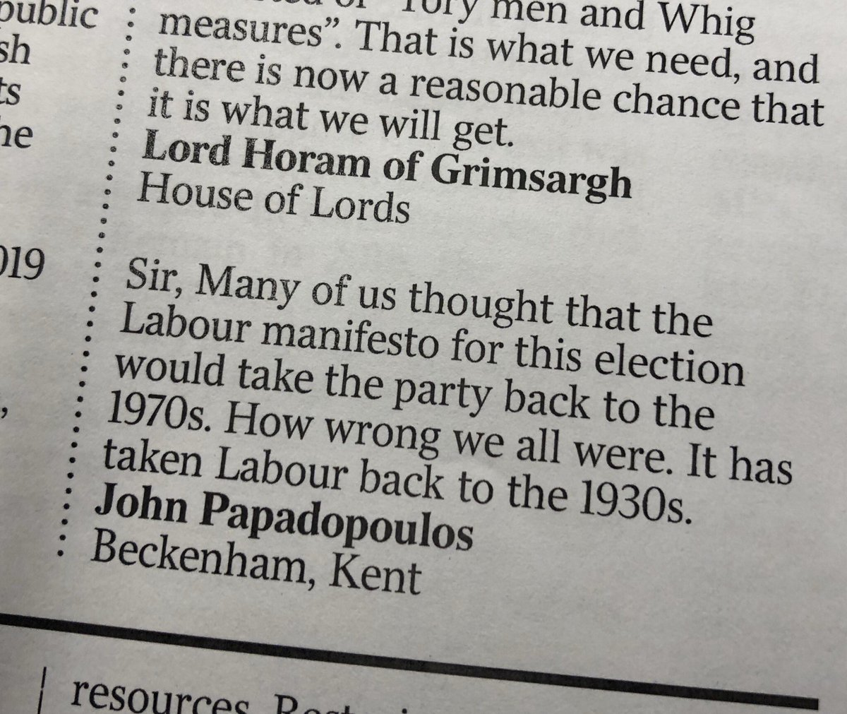 Corbyn failed to take Britain back to the 70s but he took @UKLabour back to the 1930s. Via @timesletters #GE2019pic.twitter.com/MkzaEBi8W1
