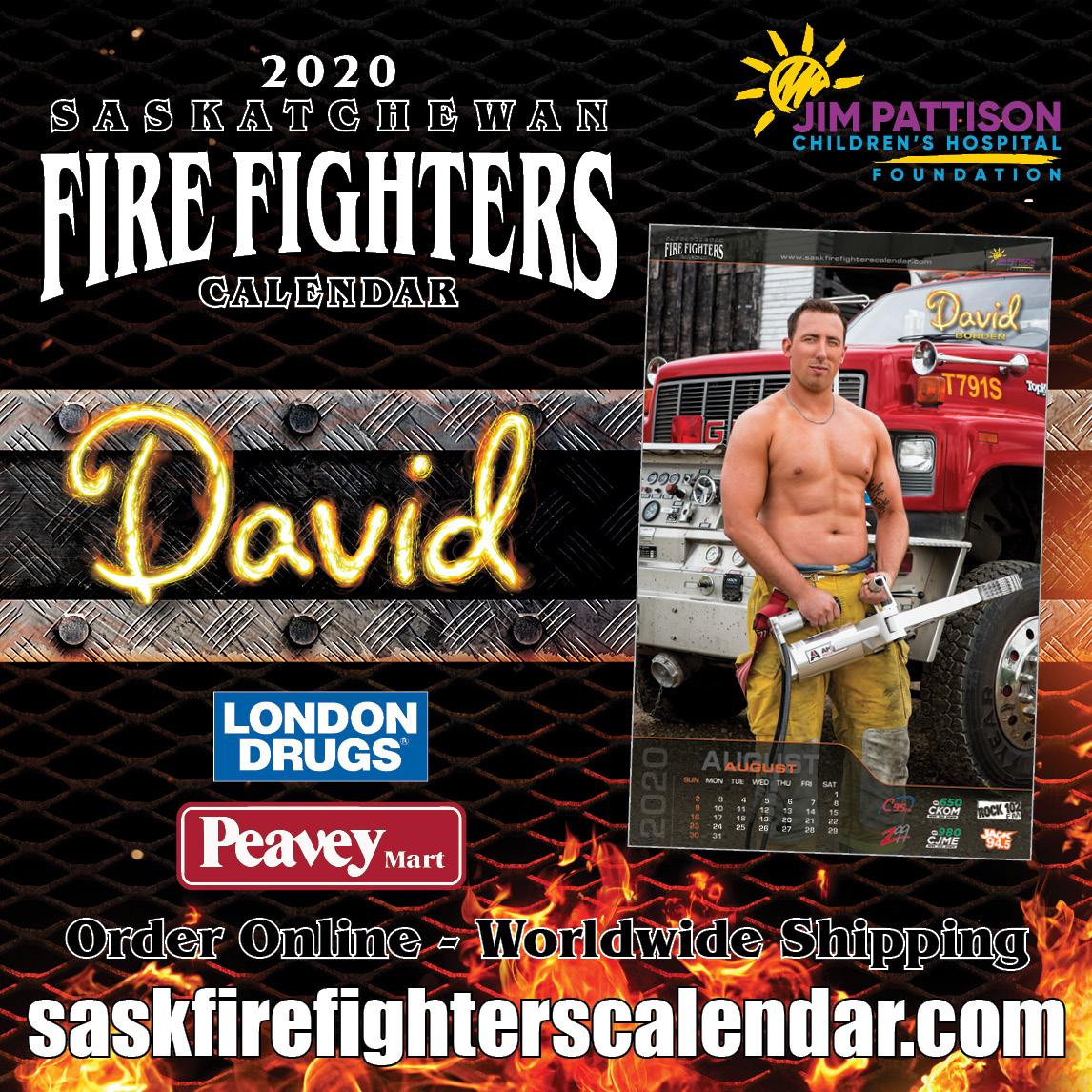 Mr. August is Fire Fighter David on the 2020 Saskatchewan Fire Fighters Calendar. Get your calendar locally around the province or online today. All proceeds to Jim Pattison Children's Hospital Foundation.  #yqr #yxe #sask #sk #regina #saskatoon #weyburn #moosejaw #princealbertpic.twitter.com/tpM6oxVlbT