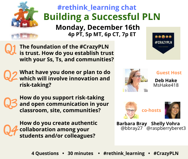 Don't miss the #rethink_learning chat with our guest host @MsHake418, my co-host @raspberryberet3 & me to discuss Building a Successful PLN  Monday, December 16th at 4p PT, 7p ET  Pls RT and tag some friends! #CrazyPLN  #BuildHOPEedu #teachpos #futureready #EduAR #KidsDeserveItpic.twitter.com/RBCcJLVqwE