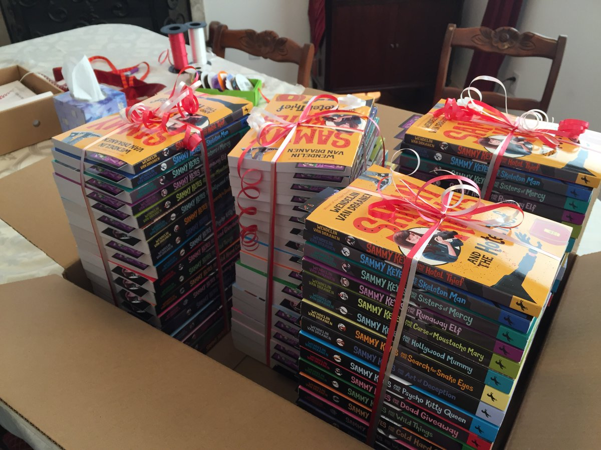 Darn! I mis-tagged 2 winner names. No wonder they haven't claimed the loot. The corrected winners for the 18-book #SammyKeyes set are: @crhames1 and @RTSReadingT   Sorry for the snafu, but...hope you're excited! Send your mailing address via Contact here: http://www.wendelinvand.com/pic.twitter.com/umZ2nEedNg