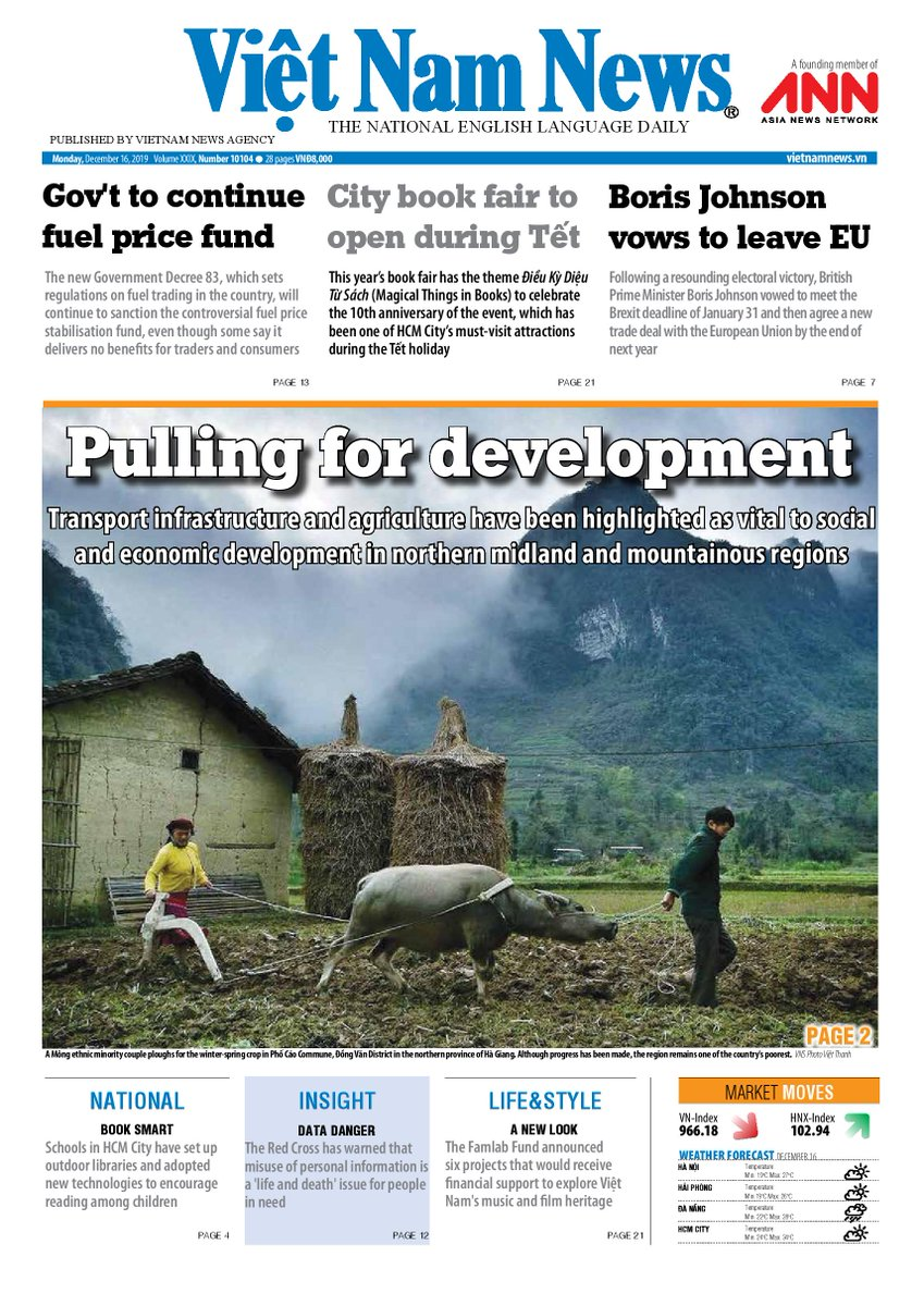 Here's our front page to start the week!  #Vietnam #agriculture #ethnic #development #fuel #BorisJohnsonPM #Brexitpic.twitter.com/7qrORtjlJH