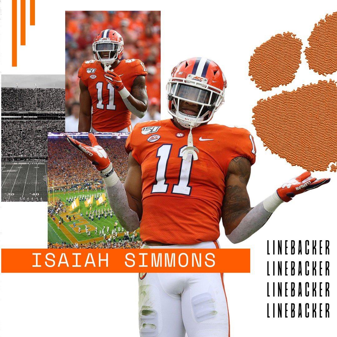 S.I. Linebacker of the Year: Isaiah Simmons from Clemson University #clemson #clemsonfootball #clemsonuniversity #clemsontigers #tigersfootball #clemsonnation #ncaa #ncaafootball #nfl #nflmemes #nflfootball #nflhighlights #nflplayoffs #nflnews #nflupdates #nfldraft #cfbplayoffspic.twitter.com/MrkjjcRiGK
