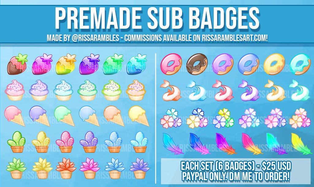 New Batch of premade sub badges available! First come, first served.   Strawberries, Cupcakes, Ice Cream, Cactus, Succulent, Donuts, Koi, Flowers, and Feathers.   Each set of 6 badges is $25 USD  Paypal only  DM me to purchase!  Commissions: http://www.RissaRamblesArt.compic.twitter.com/VlFSmUK6V8