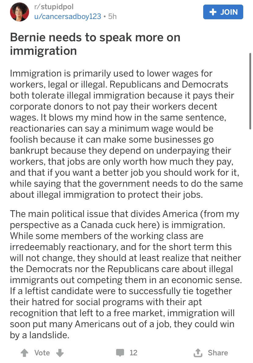 O Come All Ye Wreckers On Twitter Stupidpol Encouraging Bernie To Adopt An Anti Immigrant Stance Submitted 6 months ago by merkava_smasher from self.stupidpol. o come all ye wreckers on twitter