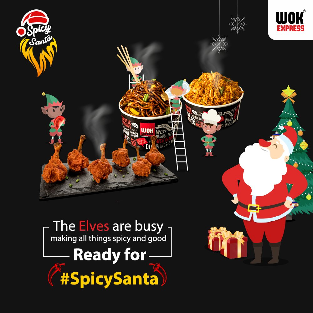 Are you ready for #SpicySanta? The elves have been busy cooking up a storm for you this Christmas. Who wants to bet on how spicy it's going to be? #Christmas #WokExpress #Wok #ChineseFood #Food #Spicy #Flavours #NewYear #Santa