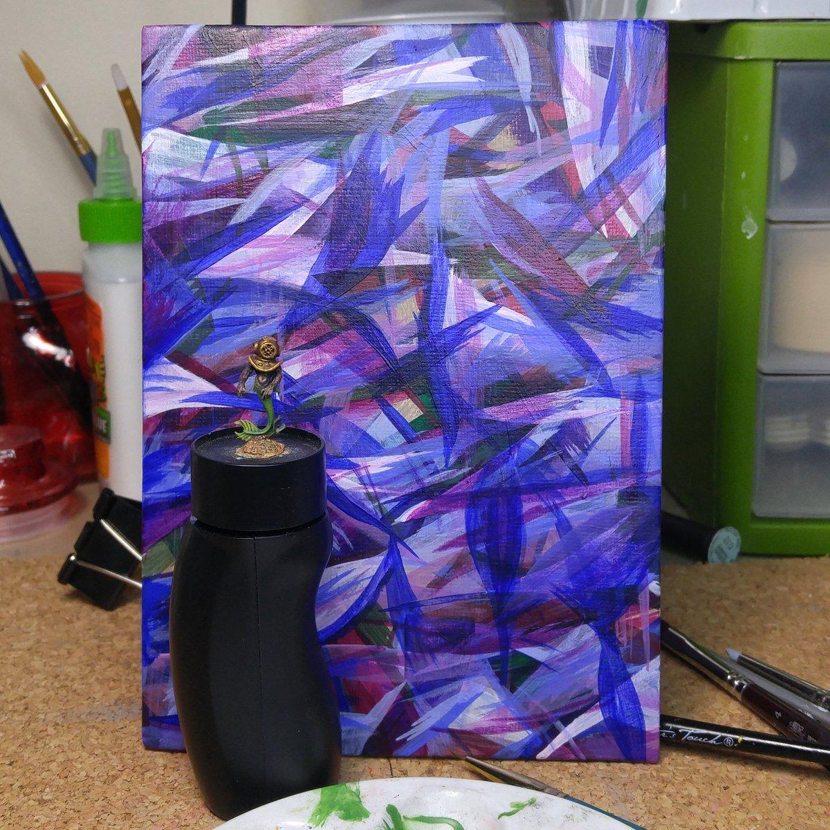 WIP combo, mini and painting #AbstractArt #MiniaturePainting #mini #acrylicpic.twitter.com/7YurHCGD8k
