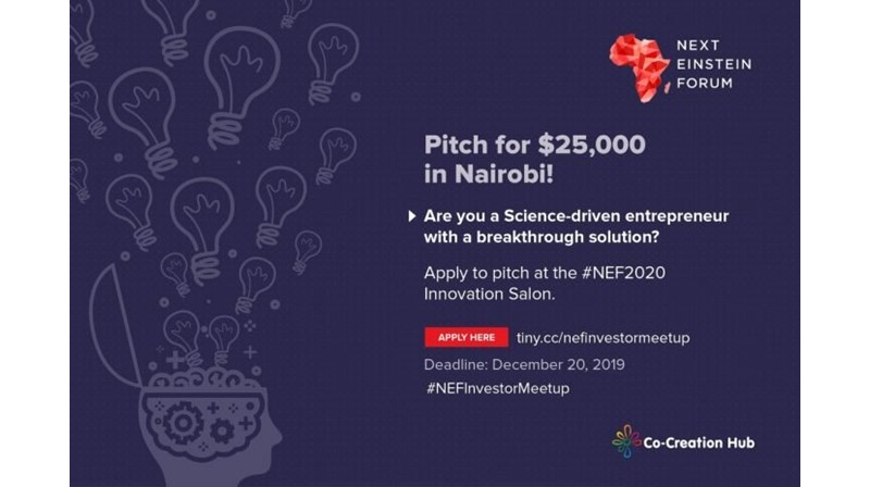Apply for a chance to win $25,000 at the Next Einstein Forum 2020- https://businesstrumpet.com/apply-for-a-chance-to-win-25000-at-the-next-einstein-forum-2020/--…  Co-Creation  Hub in partnership withNext Einstein Forum (NEF) has launched a call  for the Sciencepreneur Investor Meetup - to find, identify and support  Science-driven innovators, ... pic.twitter.com/W8VMsmXWvf
