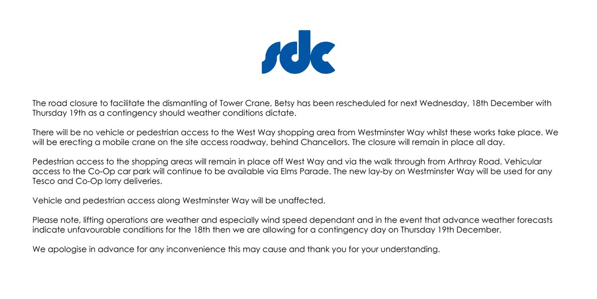 IMPORTANT: Please note, road closures scheduled for Wednesday 18th December at West Way Shopping Centre in Botley. #SDCWestway #Botley #WestWayBotleypic.twitter.com/aIbsjr68Wt