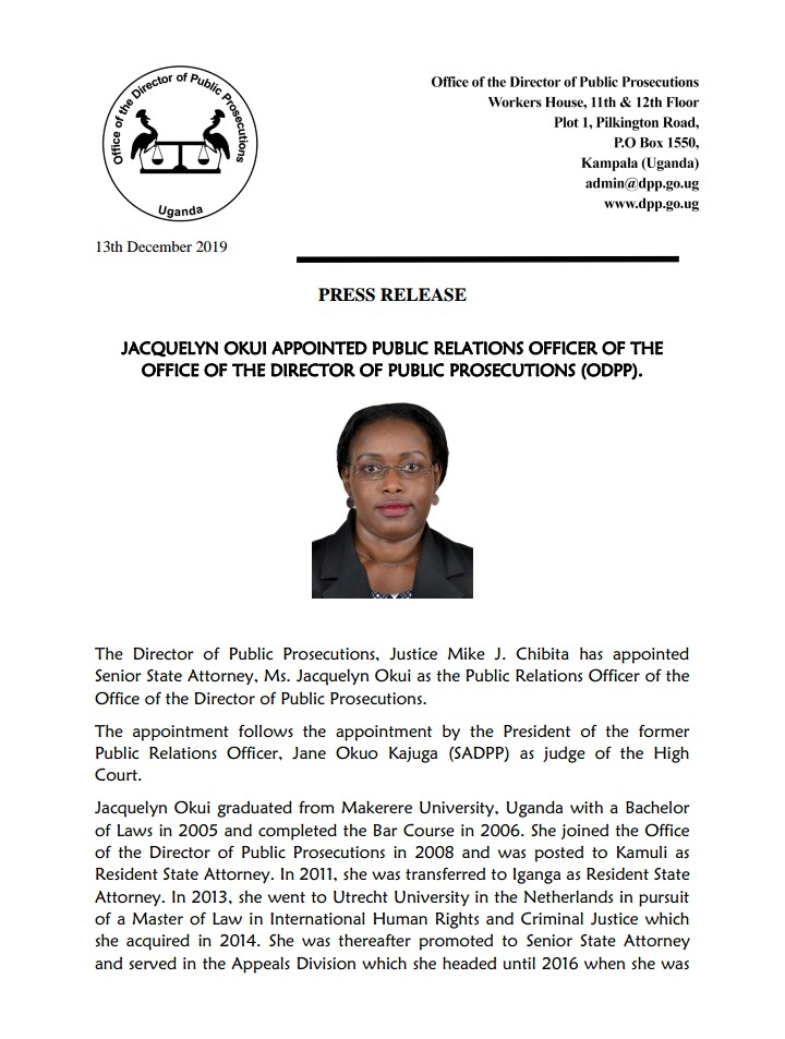 Ms.Jacquelyn Okui has been appointed as the new Public Relations Officer of the Office of the Director of Public Prosecutions (ODPP). pic.twitter.com/oi8f1Vda7H