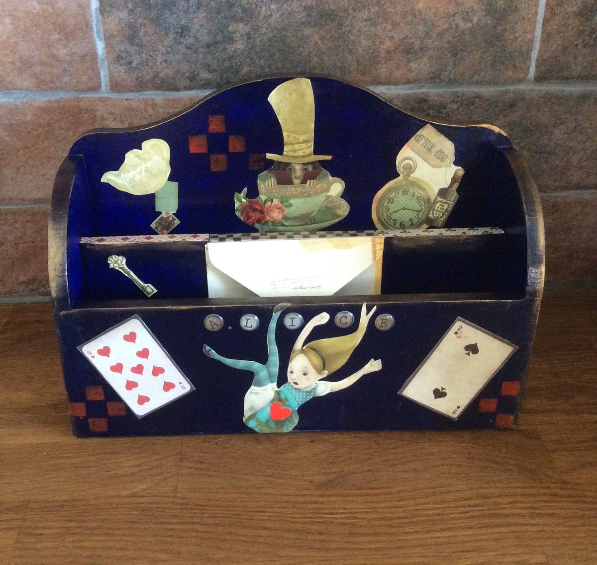 Excited to share the latest addition to my #etsy shop: Alice in Wonderland letter rack, letter storage rack, home organisation, Alice in Wonderland home decor, Alice in Wonderland gift https://etsy.me/2PtKVYF #OOAK #handmadewithlove #AliceInWonderland #etsygiftpic.twitter.com/GJagmCbCLO