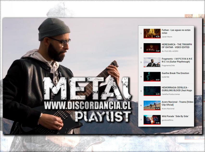 #Metalplaylist de @DiscordanciaWeb  Füthan, Heresiarca, Fragments, Gunfire, Hemorragia Cefálica, @AceroNacionalCL y Wild Parade  https://discordancia.cl/videos  #MetalChileno #DeathMetal #ThrashMetal #HeavyMetal #BlackMetal #DeathCore #Metalheads #Headbangers #Metal4ever #Metal4lifepic.twitter.com/VPP9m3UBLY