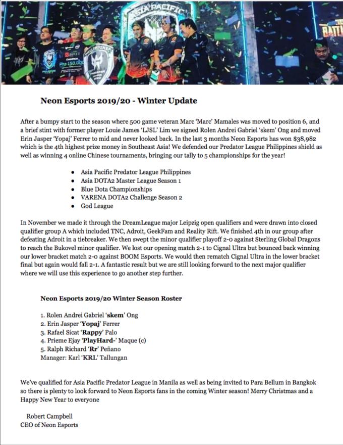 Neon Esports 2019/20 Winter Season Press Release #Dota2 #SEA #neonascend